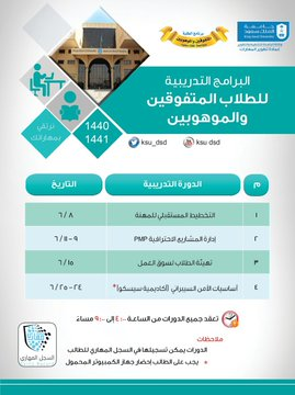 دورات البرنامج مع عمادة تطوير المهارات للطلاب