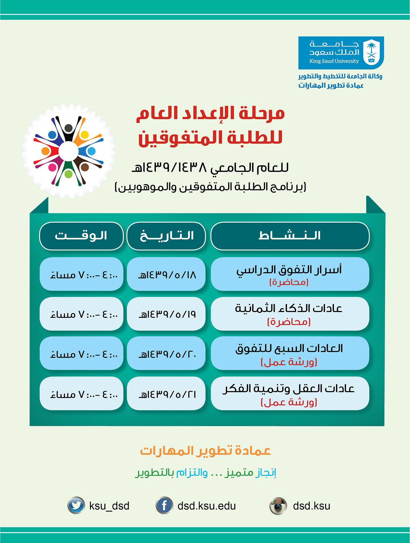 دورات مرحلة الإعداد العام بالتعاون مع عمادة تطوير المهارات